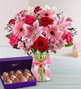 Fields of Europe Beauty Bouquet Roses, gerbera daisies, lilies, and more bundled with Chocolate Dipped Strawberries