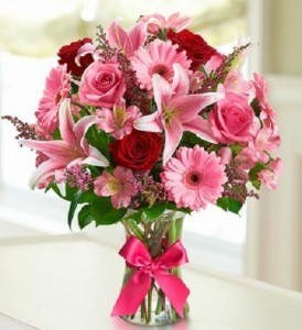 Romantic European Cottage Bouquet  In Pinks and Red, Substitutions of equal or greater value