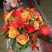 fiery hue  wedding bouquet