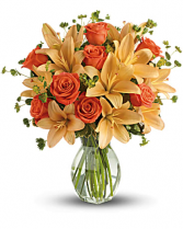 Fiery Lily and Rose Fall vase arrangement
