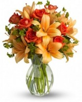 Fiery Lily and Rose Fresh Arrangement