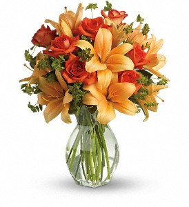 Fiery Lily and Rose               T47-2 Vase Arrangement