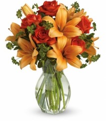 Fiery Lily and Rose Vase Arrangement