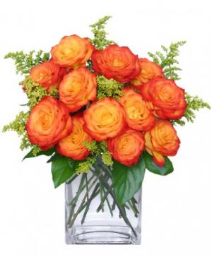 Fiery Love Vase of 'Circus' Roses in Westfield, IN | Union Street Flowers & Gifts