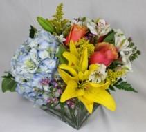 Fiery Spring Cube Floral Arrangement