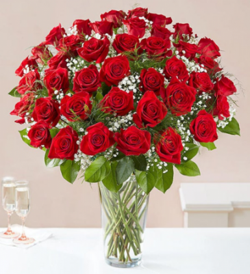 Fifty Red Roses VASE ARRANGEMENT