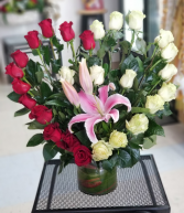 Fill her heart with LOVE bouquet  Heart shaped 24 red and white roses