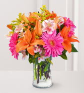 fill your life with colourfull bouquet  vase arrangement