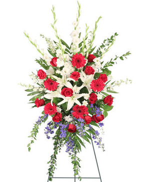 Patriotic Salute Standing Spray in Merrimack, NH | Amelia Rose Florals