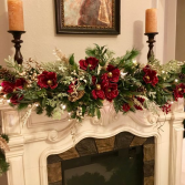 FIREPLACE  DECOR ELEGANT MIXTURE OF FLOWERS