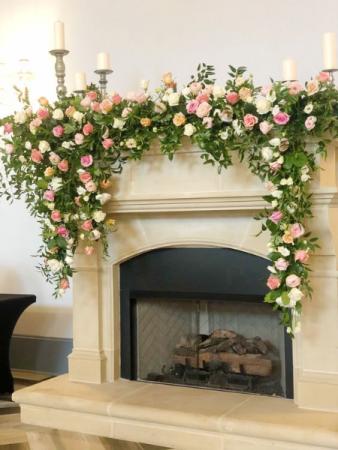 Fireplace Mantel Florals Wedding