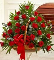 Fireside Red Rose Basket
