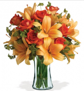 Firey Roses and Lillies Vase