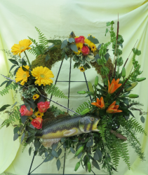 Fishing Frenzy Fresh Funeral Wreath