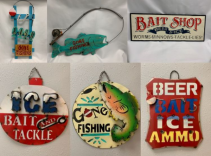 Fishing Metal & Wood Wall Signs from the Towne Flowers Man Cave