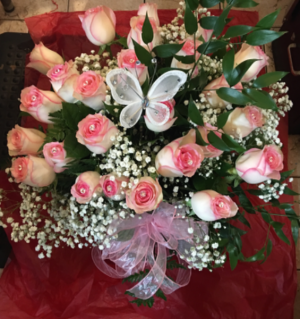 Fit for a queen  2 dozen of Our finest long stem pink roses dressed up for you queen in Ozone Park, NY | Heavenly Florist