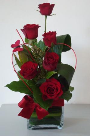 Six Star Red Roses Vase Arrangement