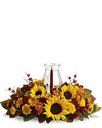 Flaming Foliage Arrangement with candle and globe
