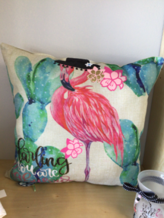 Flamingo pillow Hand designed
