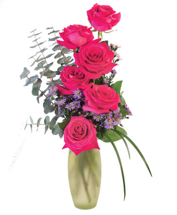 Flare of Hot Pink Hot pink roses & Limonium