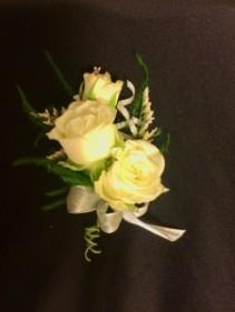Fleur Creme Triple Stack Rose Boutonniere