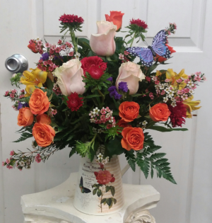 Float like a Butterfly Pitcher Arrangement in Mount Pleasant, TX | DESIGNS BY LISA