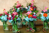 Flock of Flaminos custom event table centerpieces