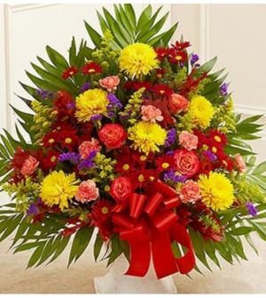 Floor Basket in Fall Colors Sympathy Arrangement in Croton On Hudson, NY | Cooke's Little Shoppe Of Flowers