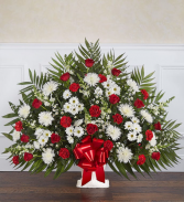 Floor Red & White funeral Basket