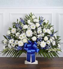 Blue & White Funeral  floor Basket