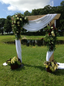 Floral Arch Decor in Ivories and Burgundy
