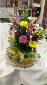 Floral  Arrangement and Fruit and Cheese Basket Gourmet - Cheese, Fruit and Flowers