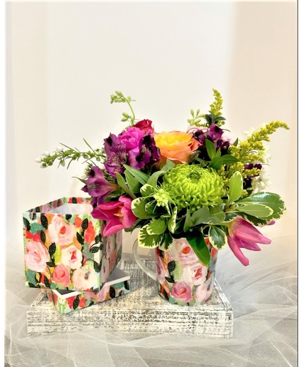 Floral arrangement in mug with gift box colorful fresh mix