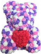Floral Bear  Rose bear Purple, Pink , Turquoise , or White