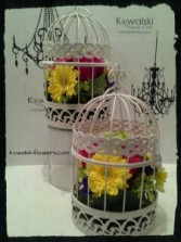 Floral Bird Cage Reception Centerpieces