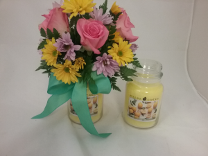 Floral candle Arrangement  in Plain City, OH | PLAIN CITY FLORIST