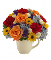 Floral Celebration Garden Mug Arrangement