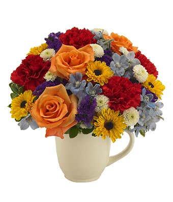 Floral Celebration Garden Mug Arrangement