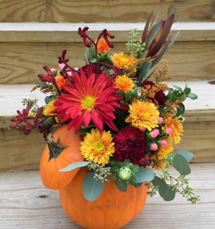 Pumpkin and Petals Arrangement