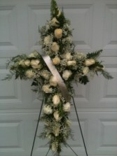 Floral Cross Standing Sympathy Cross