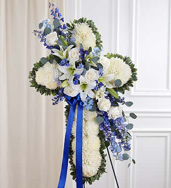 Floral Cross White with Blue