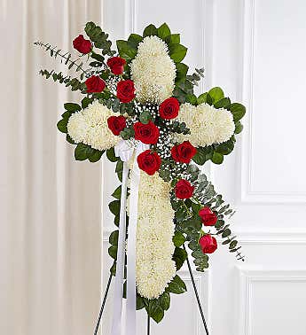 Floral Cross White with Red