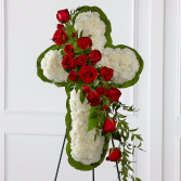 Floral Cross with Red Roses