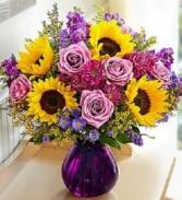 Floral Devotion Purple  Glass Vase