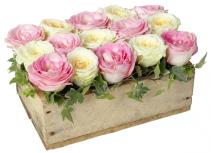 Rose Garden Wood Crate Centerpiece