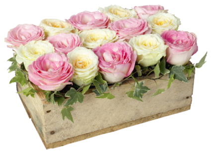 Rose Garden Wood Crate Centerpiece