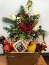 Floral Gourmet Food Basket