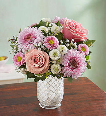 Floral Melody™ in White Mosaic Vase