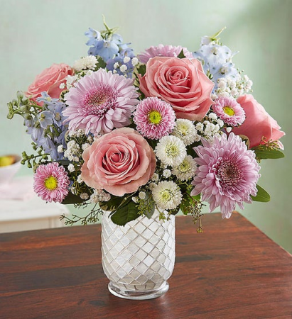 Floral Melody  in White Mosaic Vase
