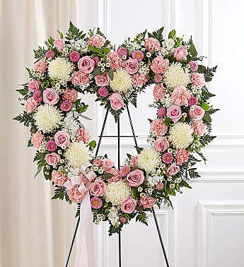 Floral Open Heart Pink & White